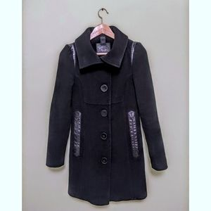 Mackage Black Wool Coat with Leather Details